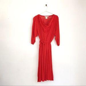 Vintage Red-Orange Woven Rayon Shawl Neck Dress
